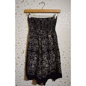 Urban Outfitters Black Patterned Strapless Dress